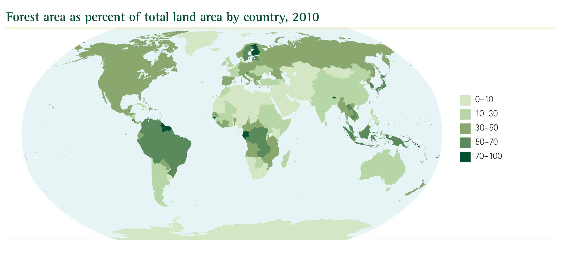 Lfccs and climate change maps map of the forest area percentage in the world based upon the countries fao 2010 gumiabroncs Gallery